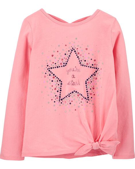 T-shirt en jersey à étoile et nœud devant