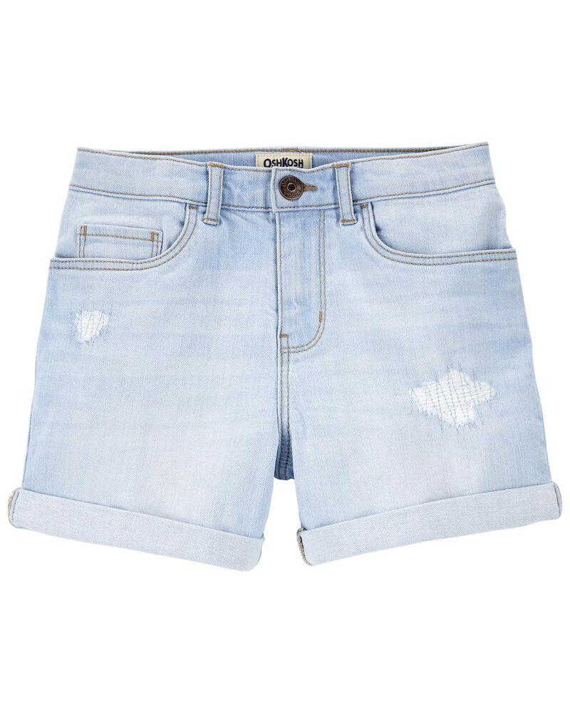 Rip-&-Repair Stretch Denim Shorts, , hi-res