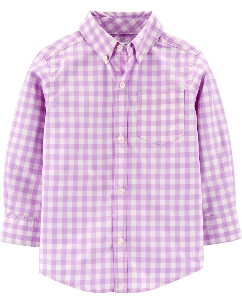 Gingham Button-Front Poplin Shirt, , hi-res