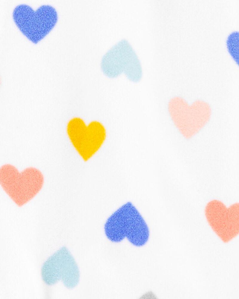 1-Piece Heart Fleece Footie PJs, , hi-res