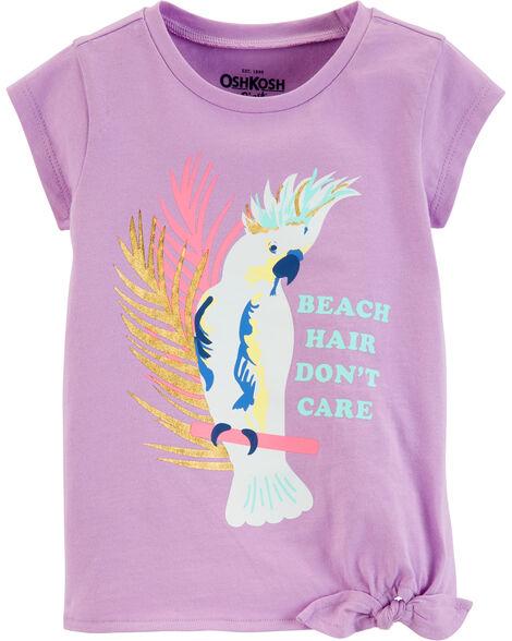T-shirt oiseau tropical à nœud sur le côté