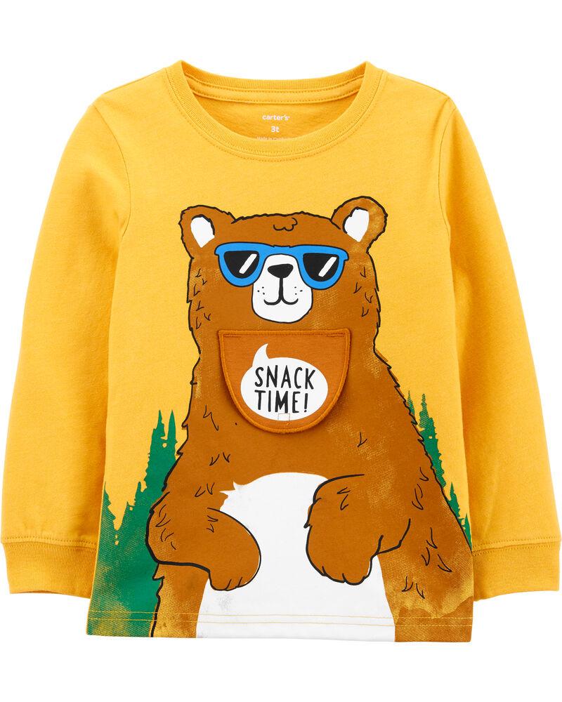 Bear Peek-A-Boo Snow Yarn Tee, , hi-res