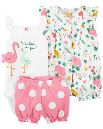 3-Piece Bodysuit & Romper Set
