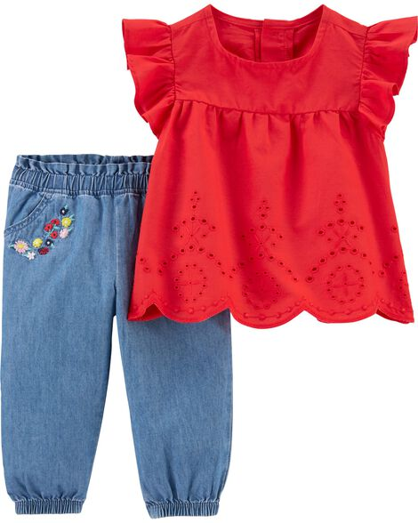 2-Piece Flutter-Sleeve Top & Chambray Pant Set
