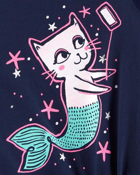 Cat Mermaid Selfie Tie Waist Tee