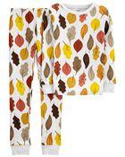 Pyjama 2 pièces en coton ajusté à motif de feuilles d'automne, , hi-res