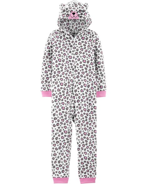 1-Piece Leopard Cat Hooded Fleece Footless PJs