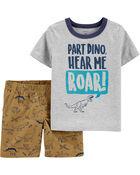 Ensemble 2 pièces t-shirt en jersey à dinosaure et short en toile, , hi-res