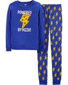 Pyjama 2 pièces en coton ajusté à motif pizza, , hi-res