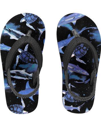 Spack Shark Print Flip Flops