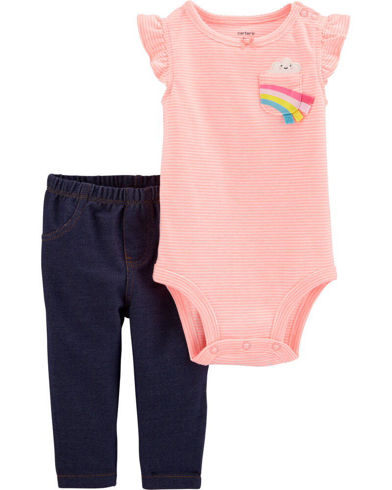 2-Piece Striped Rainbow Bodysuit Pant Set, , hi-res