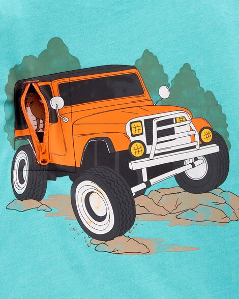 Truck Peek-A-Boo Snow Yarn Tee