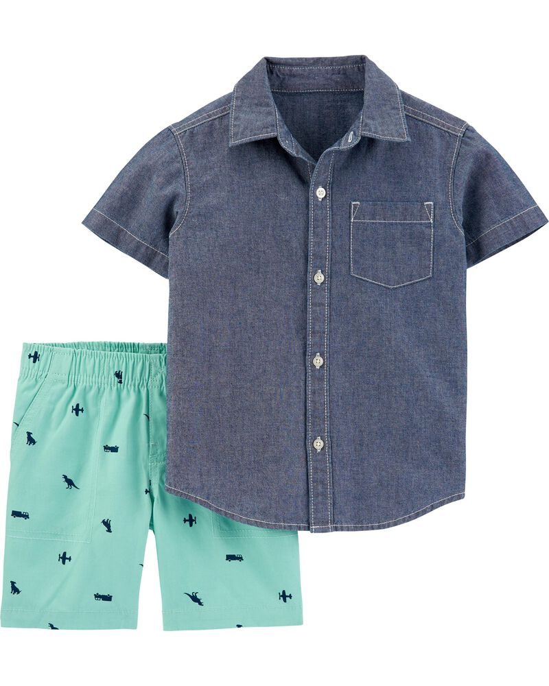 2-Piece Chambray Button-Front Shirt & Canvas Short Set, , hi-res