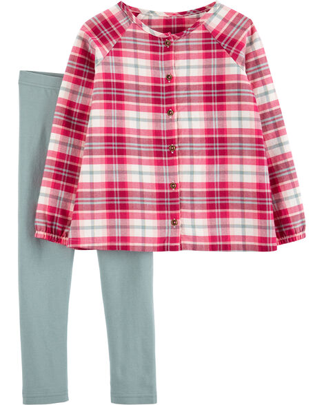 2-Piece Plaid Flannel Top & Legging Set