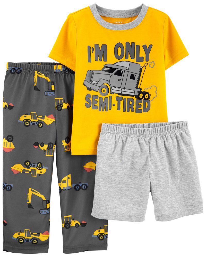 Pyjama 3 pièces de coupe ample motif construction, , hi-res