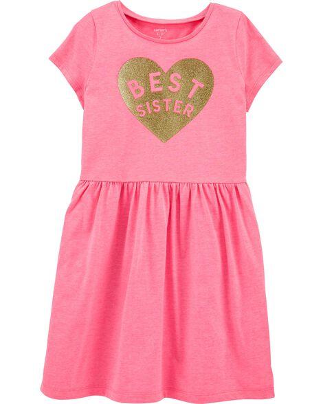 Glitter Best Sister Jersey Dress