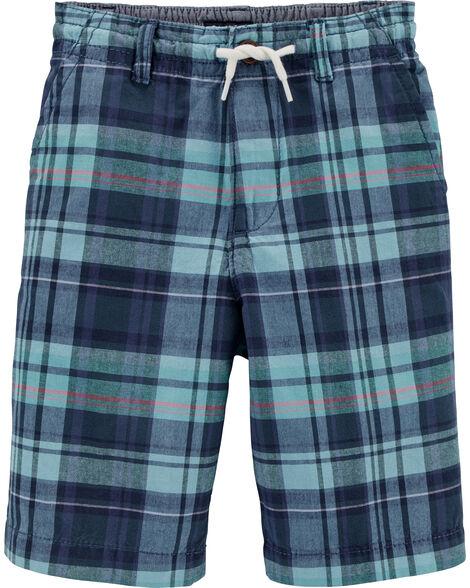 Short à enfiler à motif écossais