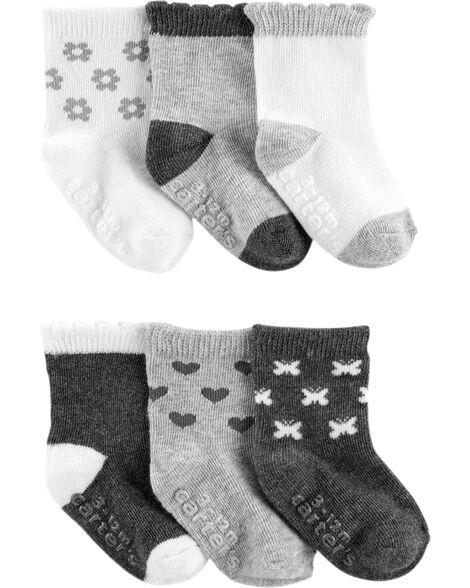 Emballage de 6 paires de chaussettes à icônes et couleurs contrastantes