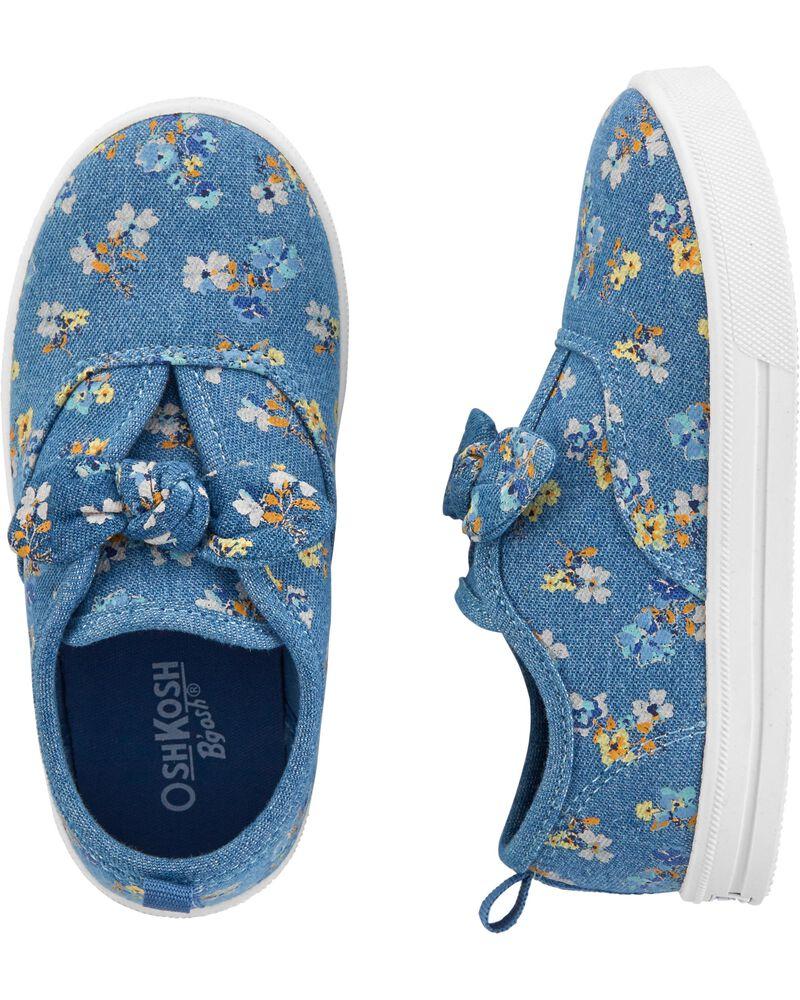 Chaussures à enfiler à nœud et motif fleuri, , hi-res