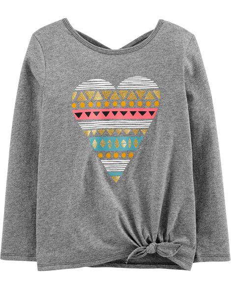 T-shirt en jersey à cœur et nœud devant