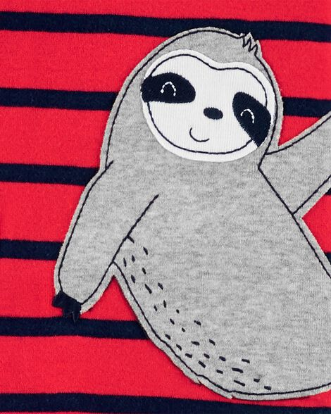 Pyjama 1 pièce à pieds en coton ajusté à paresseux
