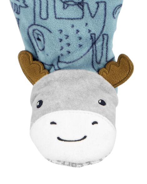 Pyjama 1 pièce à pieds en molleton motif animaux