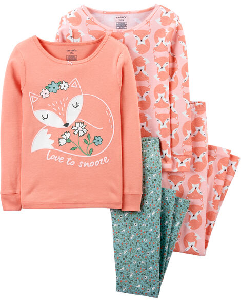 4-Piece Fox Snug Fit Cotton PJs
