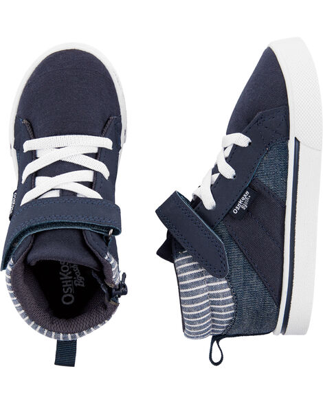 Navy Striped High-Top Sneakers