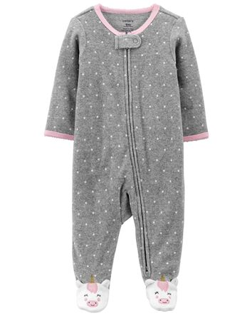 Polka Dot Terry Zip-Up Sleep & Play