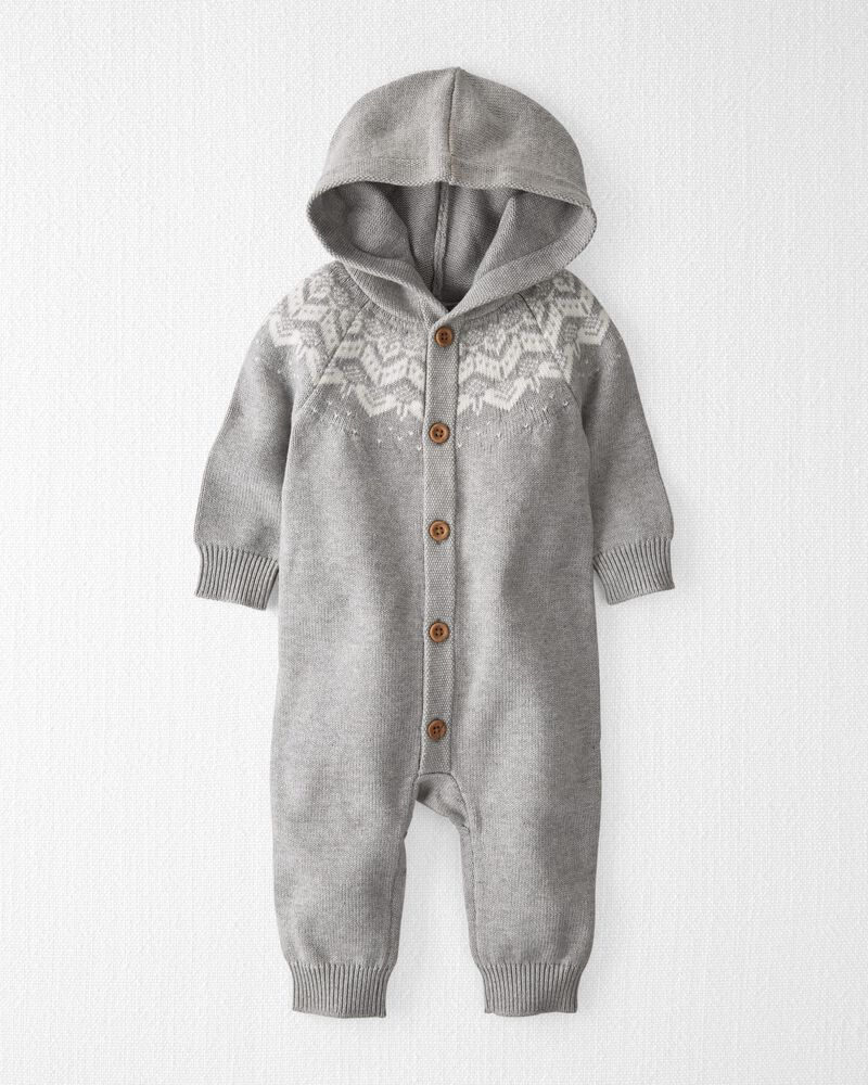 Organic Sweater Knit Hooded Jumpsuit, , hi-res