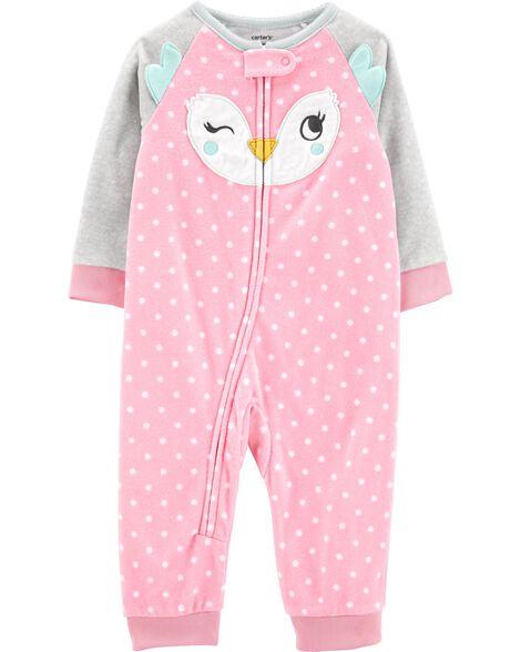 Pyjama 1 pièce sans pieds en molleton avec hibou