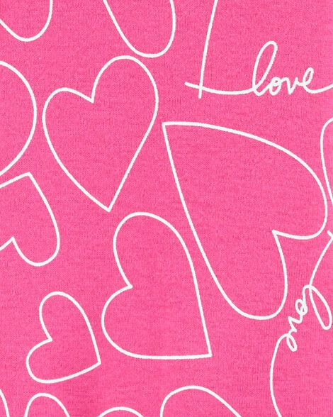 1-Piece Hearts Snug Fit Cotton Footie PJs