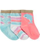 3 paires de chaussettes mi-mollet à dauphin, , hi-res