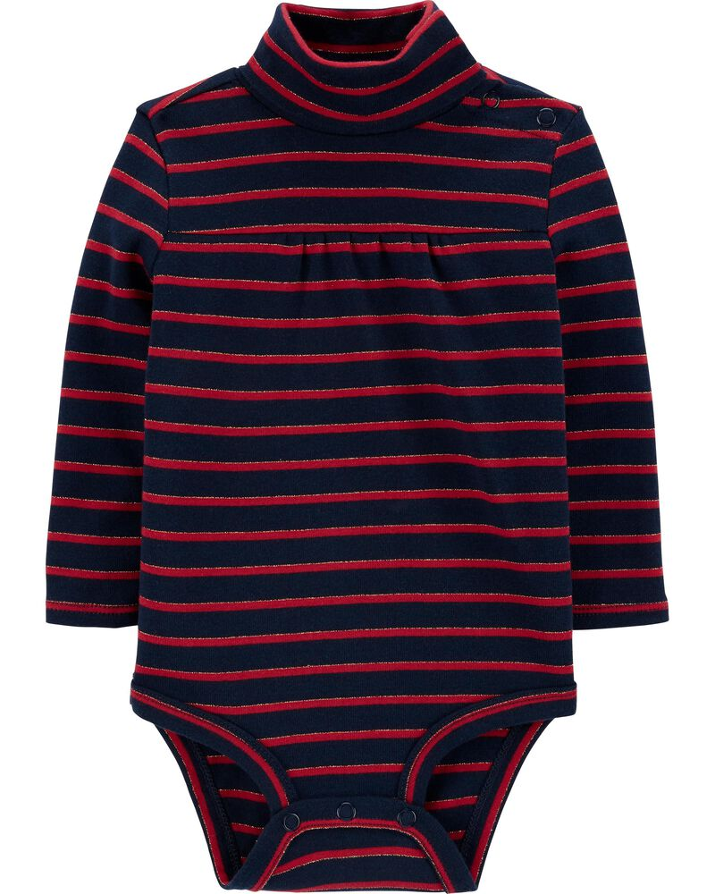Sparkle Striped Turtleneck Bodysuit, , hi-res