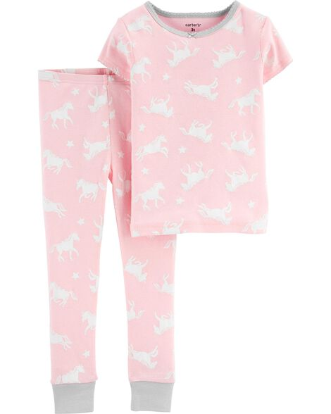 2-Piece Unicorn Snug Fit Cotton PJs