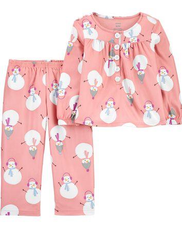 2-Piece Snowman Coat-Style PJs