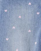 Heart Print Denim Overalls, , hi-res