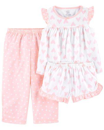 Pyjama 3 pièces de coupe ample à cœ...