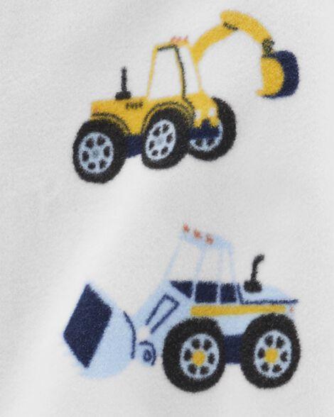 1-Piece Construction Truck Fleece Footie PJs