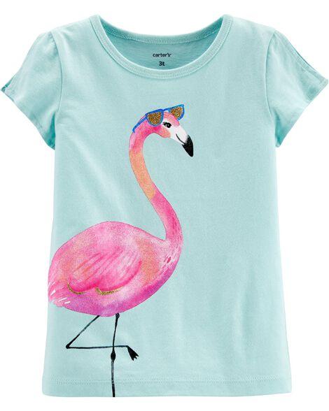 Flamingo Split Shoulder Jersey Tee