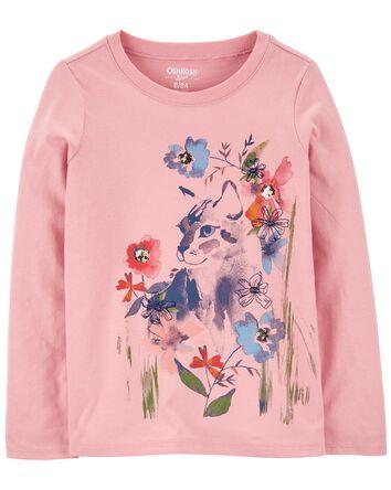 T-shirt à chat fleuri scintillant