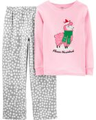 2-Piece Llama Snug Fit Cotton & Fleece PJs, , hi-res