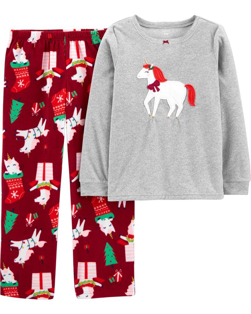 Pyjama 2 pièces en molleton à licorne des Fêtes, , hi-res