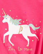 T-shirt en jersey à nœud devant et licorne scintillante, , hi-res