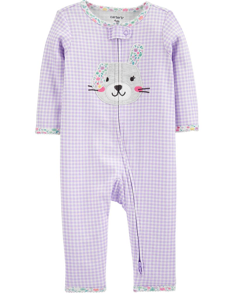 Bunny 2-Way Zip Cotton Footless Sleep & Play, , hi-res
