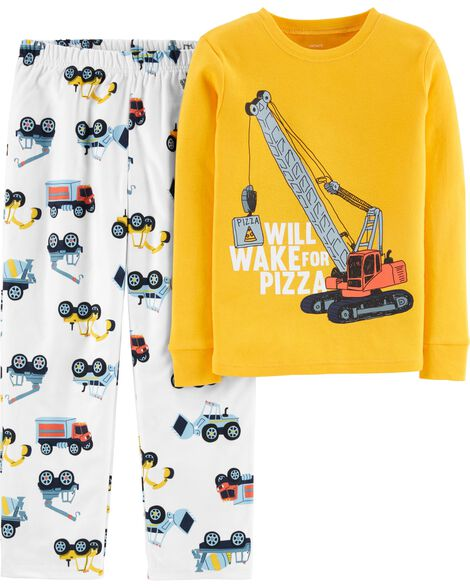 2-Piece Construction Snug Fit Cotton & Fleece PJs