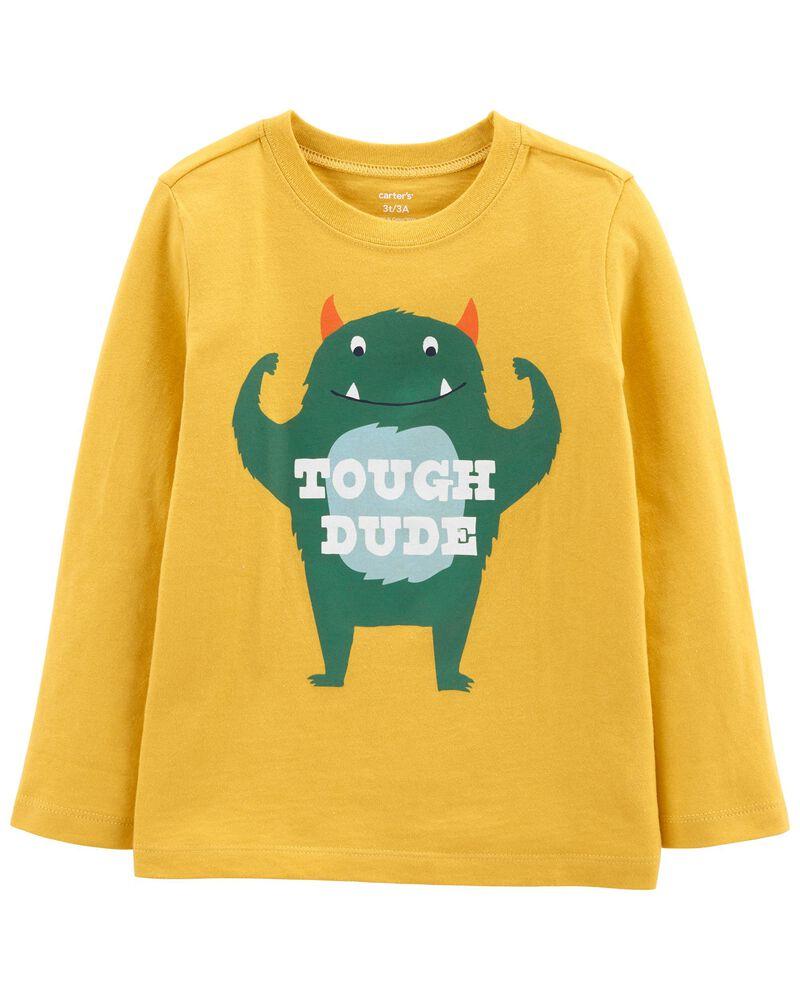 T-shirt en jersey avec monstre, , hi-res