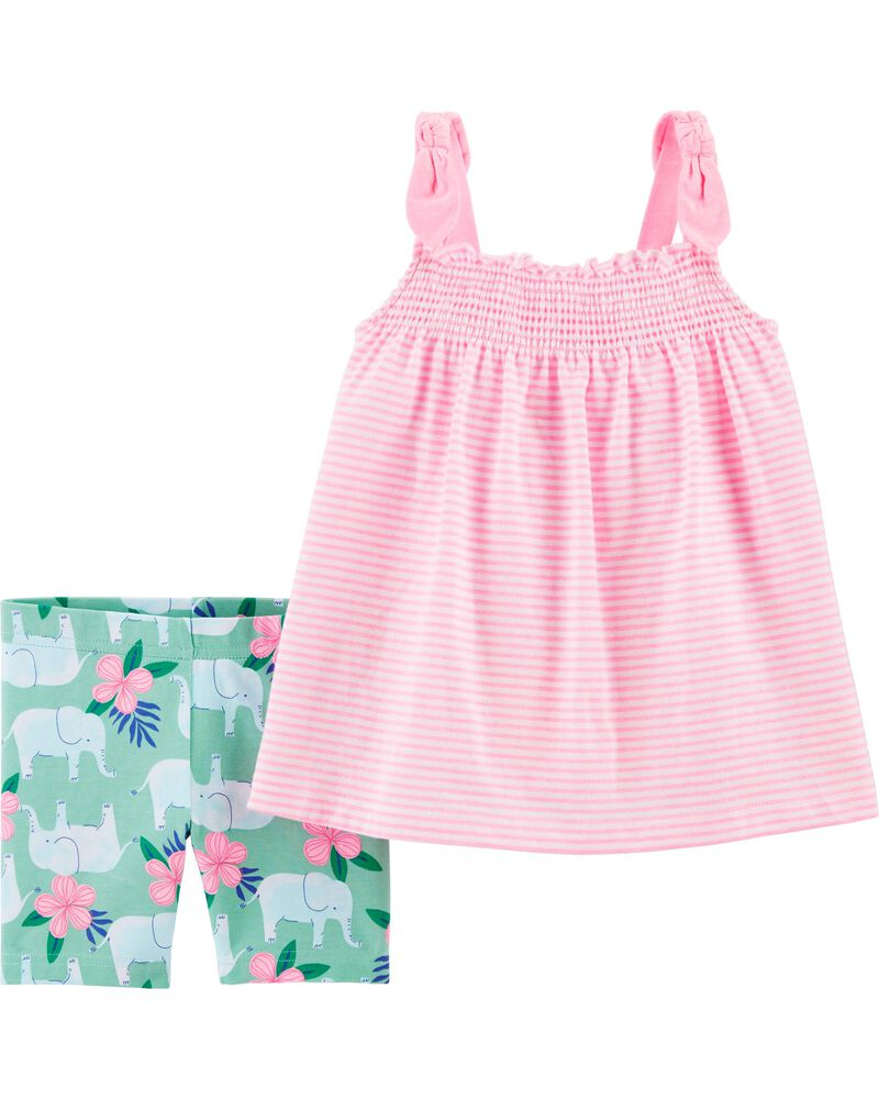 2-Piece Striped Tank & Elephant Playground Short Set, , hi-res