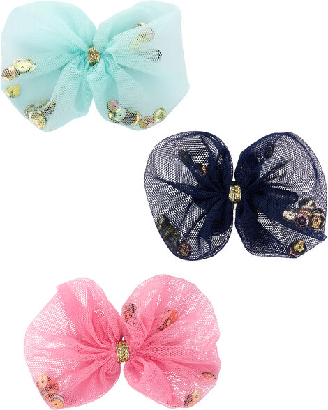 3-Pack Sequin Tulle Bow Hair Clips