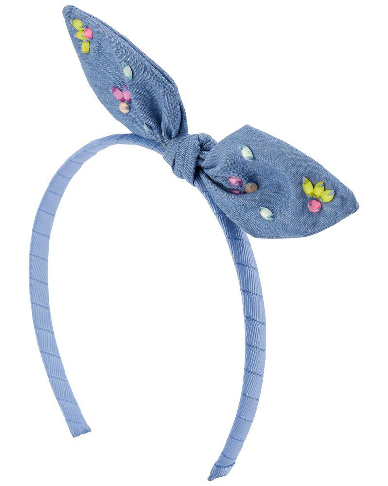 Chambray Bow Headband, , hi-res